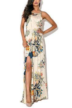 Apricot Floral Leaf Print Cami Maxi Tie Dress