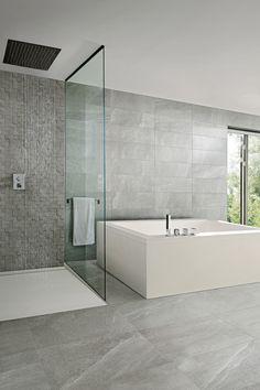 Questo bagno è stato realizzato utilizzando sia a pavimento che a rivestimento la nostra collezione effetto pietra Lake Stone . Colore Pearl  http://www.supergres.com/your-home/pavimenti/item/565-lake-stone