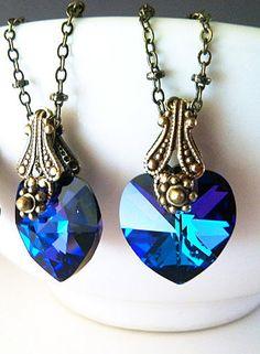 New Swarovski Heliotrope Crystal Vintaj Filigree Heart Pendant Necklace-Love N' Hearts Collection on Etsy, $27.00