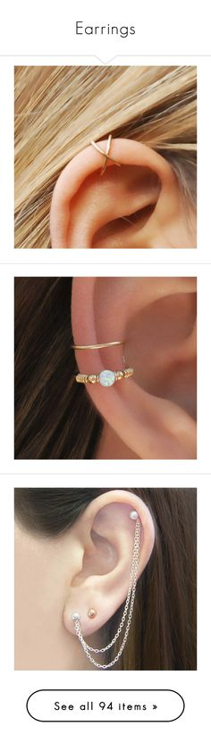 """Earrings"" by juliana-jardimsilva ❤ liked on Polyvore featuring jewelry, earrings, ear cuff earrings, imitation jewelry, fake ear cuff, artificial jewellery, fake earrings, accessories, piercing and opal jewelry"