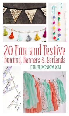 20 Fun and Festive Bunting, Banners & Garlands Diy Craft Projects, Craft Tutorials, Fun Crafts, Diy And Crafts, Crafts For Kids, Craft Ideas, Paper Crafts, Diy Bunting Banner, Bunting Ideas