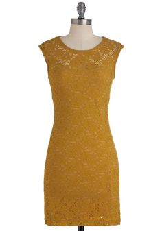 Ruby Blooms Dress in Muted Gold - Mid-length, Yellow, Cutout, Lace, Party, Sheath / Shift, Fall, Floral, Cap Sleeves $49.99