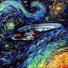 Star Trek Inspired Art - Fine art print - Starship Enterprise - Space - van Gogh Never Boldly Went - Art by Aja 8x8, 10x10, 12x12, 20x20, 24x24 inch sizes
