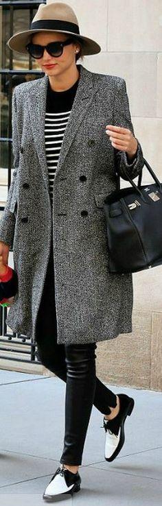 c29b809012 Miranda Kerr  Hat – Rag   Bone Shirt – T by Alexander Wang Sunglasses –  Celine Hermes Birkin Bag in Black Buy It! Coat and shoes – Saint Laurent  Pants ...
