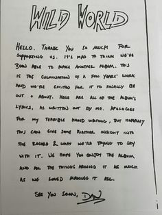 Bastille Wild World lyrics, handwritten by Dan