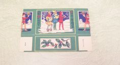 Vintage Art Deco cardboard Christmas candy treat box Happy New Year carolers holly pine cones by BigGDesigns on Etsy