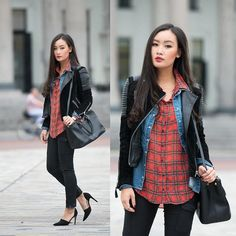 Plaid and leather outfit Plaid And Leather, Studded Leather Jacket, Autumn Winter Fashion, Fall Fashion, Tartan Fashion, 2014 Trends, Comfy Casual, Grunge Fashion, Passion For Fashion
