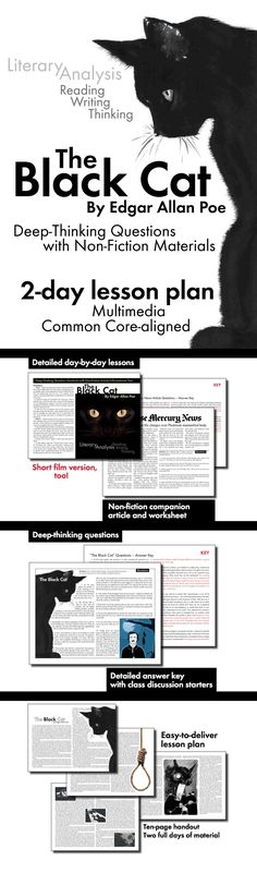 "Use the short story, ""The Black Cat"" by American Gothic/Dark Romantic writer Edgar Allan Poe, to teach your students the elements of literary analysis, get them thinking deeply about the text, and provide opportunities for real-world connections via an actual newspaper article/activity detailing a similar crime."