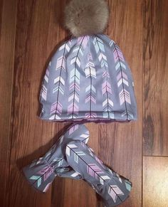 Pom Pom Beanie and matching mittens Kids Beanies, Mittens, Winter Hats, Clothing, Fashion, Fingerless Mitts, Outfits, Moda, Fashion Styles