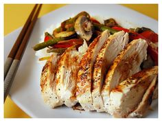 Szechuan chicken with vegetables and rice.