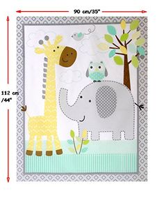 Nursery/Childrens/Babies Cot Quilt/Wall Hanging/Play Mat Fabric Panel --- Cute Safari Animals (Elephant/Giraffe/Owl) on a Neutral Grey/Aqua/Yellow Background
