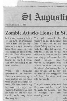 The Zombie of St Augustine. Click to read the rest...