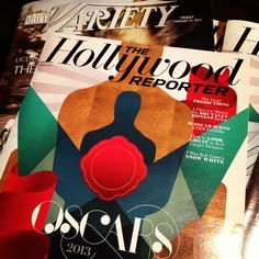 Oscar day reading material in the lobby: the latest issues of #TheHollywoodReporter and #Variety magazines. (We recommend flipping to pg 74 of this #Oscars2013 Hollywood Reporter issue)