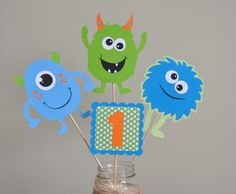 Monster Bash Centerpiece Monster Party by DesignsByDodi on Etsy Monster Centerpieces, Monster Decorations, Birthday Party Centerpieces, Little Monster Birthday, Monster 1st Birthdays, Monster Birthday Parties, Boy First Birthday, First Birthday Parties, First Birthdays