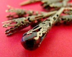 filigree cone bead caps antique brass 20x17mm 20 pcs