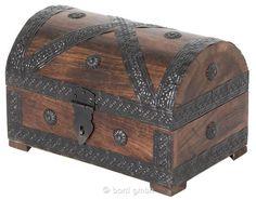 Bart, Piraten-Schatztruhe klein, rustikale Massivholz-Truhe, Schatzkiste aus Holz, Rollenspielzeug, 23 cm | 7178 / EAN:07610465007839