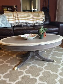 painted two-tone queen ann oval coffee table. rustic shabby chic