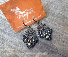 Small Micro macramé earrings in dark gray boho jewelry macrame Hippie earrings bohemian wear gypsy