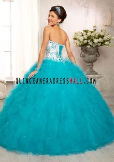 2012 Multi-Colored All Over Beaded Bodice on a Ruffled Tulle Skirt White/Capri Puffy Quinceanera 15 Dress 88095_[2014] Quinceanera Dresses_Quinceanera Dresses 2015,sweet 15 dresses 2015,Dama Dresses 2015,Little Girl Pageant Dresses 2015,Tutu dress 2015,New Style Quinceanera Dresses 2015 on Quinceaneradressmall.com
