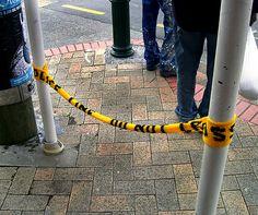 caution tape yarn bombing
