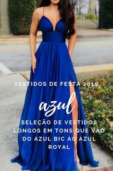 Confira esta seleção de vestidos longos que vão do azul bic ao azul royal (modelos para madrinhas de casamento e formandas) Vestidos Azul Royal, T Dress, Lace Dress, Prom Dresses, Formal Dresses, Wedding Dresses, Maid Of Honor, Casual Chic, Ball Gowns