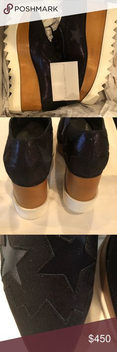 Stella McCartney Elyse star lace-up platforms. Statement midnight blue Italian shoe. Faux leather. Lofty wooden base, saw-edge rubber sole. Square toe.instant style addition to a fashion forward closet. Runs large, size down 1/2-1 sizes Stella McCartney Shoes Platforms