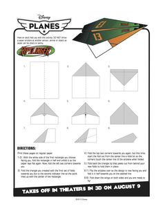 Disney Planes Printable Ripslinger Paper Airplane Craft