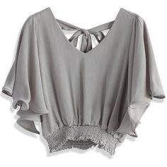 Chicwish Add Your Chic Points Cropped Top in Grey (2,560 INR) ❤ liked on Polyvore featuring tops, grey, crop top, flutter-sleeve top, fancy tops, tie top and grey top