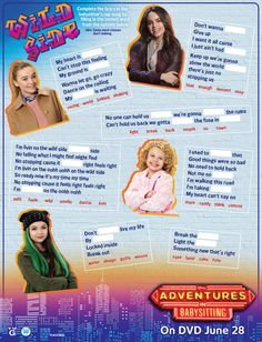 Adventures in Babysitting Activity sheets. DVD comes with bloopers and on sale June 28. Sofia Carson and Sabrina Carpenters. Disney | Disney Channel | Original Movies