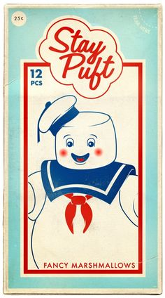 Retro poster for 'Stay Puft' Marshmallows Ghostbusters Stay Puft, Ghostbusters Party, The Real Ghostbusters, Retro Ads, Vintage Advertisements, Vintage Ads, Vintage Posters, Illustrations, Illustration Art
