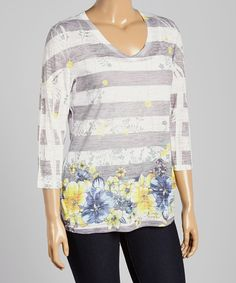 Look at this Citi Life White & Gray Stripe Floral Top - Plus on #zulily today!