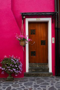 wow now that's some saturated hot pink! and look how it blends with the wood door that has red undertones and the grey stone floor that has violet undertones - nice!