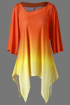$23.75 Ombre Asymmetric Longline T-Shirt - Jacinth