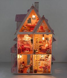 Doll house with furniture Handmade wooden by AmyCrystalWedding