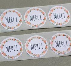 etiquettes autocollantes rondes merci couronne de fleurs x12 blanc stickers - Tiquettes Autocollantes Mariage