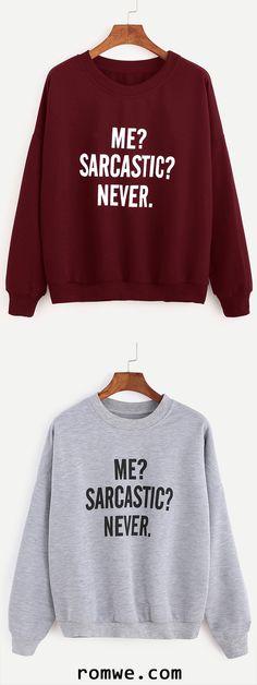 Drop Shoulder Letters Print Sweatshirt