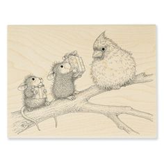 Birdie Gifts Rubber Stamp - Our Newest House-Mouse Designs® Wood Mounted rubber stamps Woodworking Guide, Custom Woodworking, Woodworking Projects Plans, Teds Woodworking, House Mouse Stamps, Blank Cards And Envelopes, Calendar Pictures, Mouse Color, Detailed Drawings