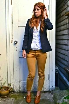 Navy cardigan, white shirt, mustard jeans, cognac shoes