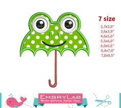 Applique Design Mini Spring Baby Frog Umbrella 16148 by EmbryLab