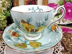 QUEEN ANNE TEA CUP AND SAUCER blue & gold raised acorns TEACUP