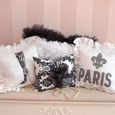 Black and White Damask Paris Pillow Collection