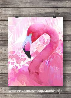 Flamingo Printable art | Watercolor pink painted | summer art pink hand painted | tropical decor flamingo art print Printable wall art