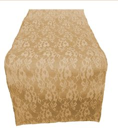 "14"" Burlap and Lace Table Runner with 14"" Ivory Lace"