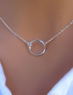 Eternity Circle Necklace in STERLING SILVER.  Simple, but pretty!