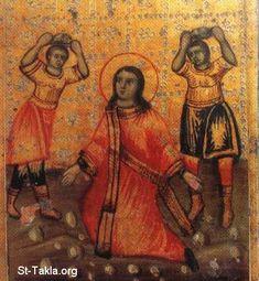 St-Takla.org Image: Saint Stephen (Estephanos, Estafanous) the first martyr and Deacon Ancient Coptic icon صورة في موقع الأنبا تكلا: الشهيد استفانوس، اسطفانوس رئيس الشمامسة وأول الشهداء - أيقونة قبطية أثرية