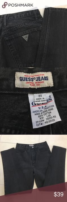 "🍰 VINTAGE GUESS High Waisted Jeans Black Guess Jeans Style - High Waisted (Retro) Color - Black Measurements -     Front Inseam 12""    Back Inseam 14""    Length 28""    Width of bottom of leg 6.25"" 100% Cotton. Size 31 Guess Jeans Straight Leg"