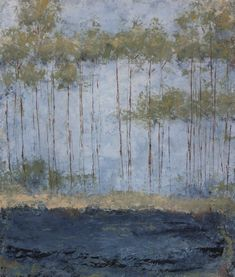 """Art. Oil and Cold Wax painting.  Pines adorn the rare coastal dune lakes in the Florida Panhandle. Oil and Cold Wax on wood panel, 19.5 x 23"""", www.loridrew.net (sold)"""