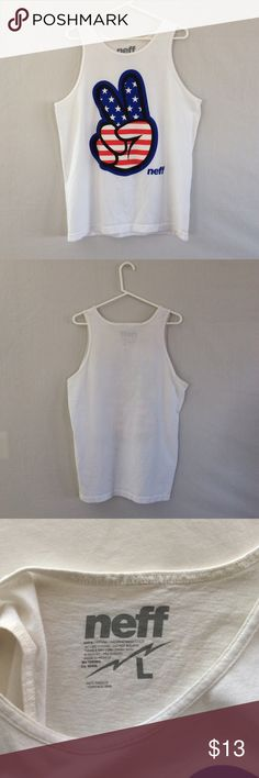 Men's Peace Tank Men's size large tank from Neff! Very cool find. Show some American peace ✌. Feel free to ask questions or make an offer ! Neff Shirts Tank Tops