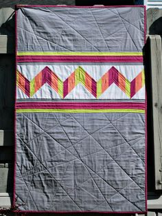 bijou lovely: neon chevron quilt. (The piecing I could take or leave, but I love the quilting!)