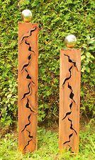 Gartendeko Stehle Rostsäule Dreieck 60cm Gartenideen Skulptur Edelstahlkugel #gartendeko #skulptur #gartenidee
